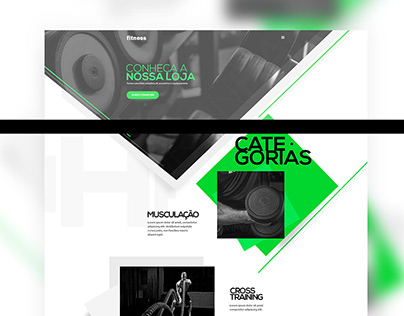Concept layout for a fitness landing page