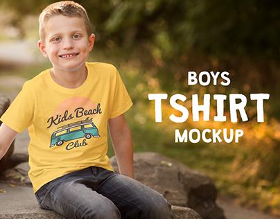 Boys T-shirt Mock-up Template PSD