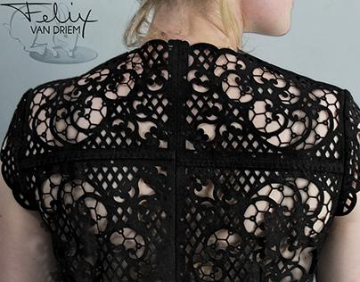 Laser-cut vintage leather in lace pattern