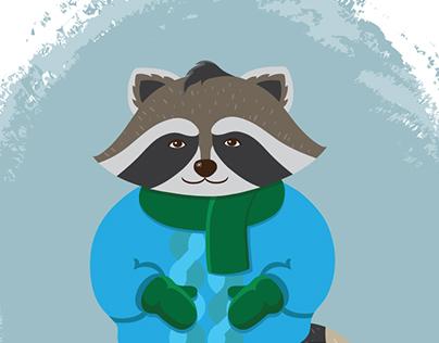 Winter Raccoon Illustration