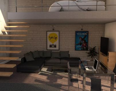 Loft room - C4D Physical render project