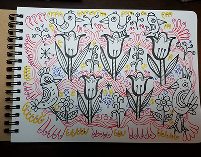 Doodles 23 - Chicks Tulips