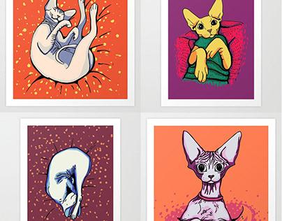 Sphynx Cats - Illustrations