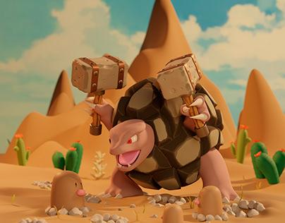 Golem Pokémon: the turtle in the desert
