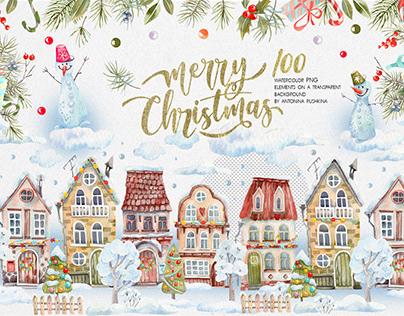 Christmas watercolor houses