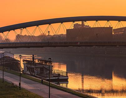 The golden hour on the Vistula River in Krakow