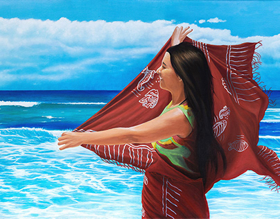 """MECHI A LA MAR"" - oil on canvas - 50x100 cm"