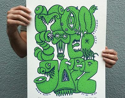 ''MonsterJazz'' silkscreen poster