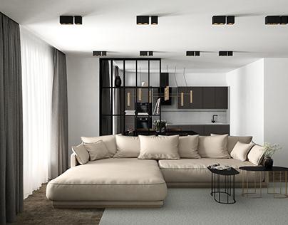 Living room - 3D visualization