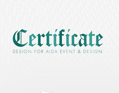 Cirtificate Design For Aida Event and Design