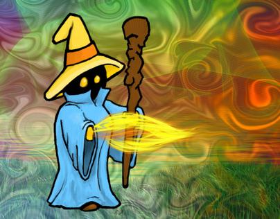 Black Mage from Final Fantasy, Digital Illustration