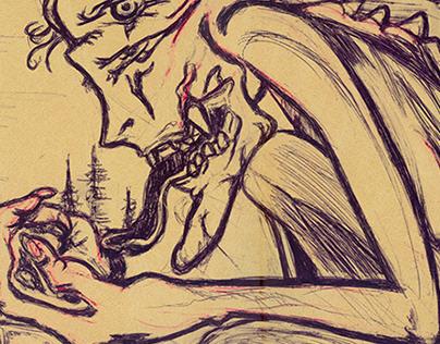 GRABADO. Monstruo en linóleo.