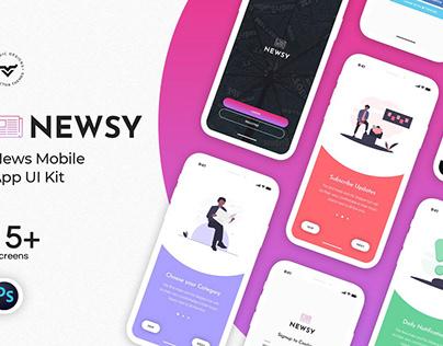 Newsy News Mobile App UI Kit