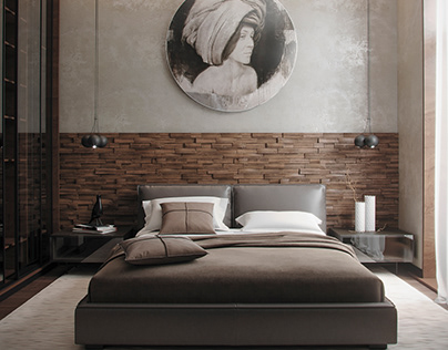 Wood panel in bedroom interior
