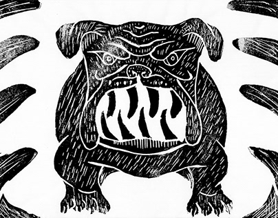 Bulldog x Hairclip Linocut