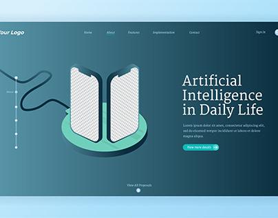 Smartphone artificial inteligence landing page design