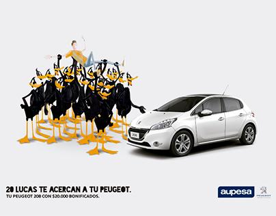 """Aupesa Peugeot """"20 lucas te acercan a tu Peugeot""""."""