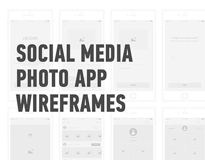 Social Media Photo App Wireframes