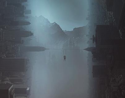 surreal city landscape