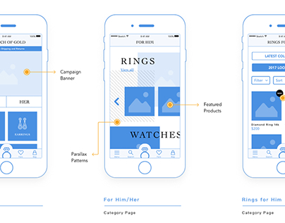 UX Wireframes for fictitious jewelry store app