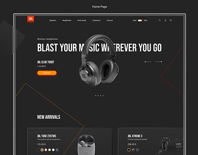 JBL website redesign concept, glassmorphism
