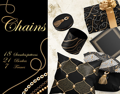 Chains seamless patterns, borders, frames
