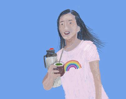 Ilustración / Chica y Mate