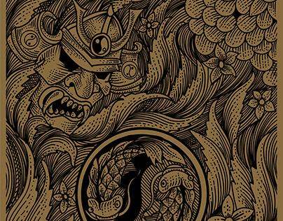 samurai mask engraving