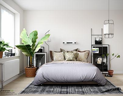A Scandinavian-style bedroom