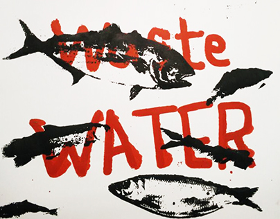 """don't waste water"" screen printing"
