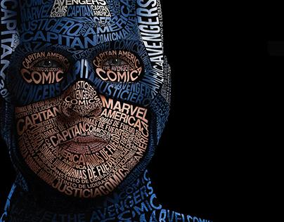 Ilustración Tipográfica - Capitán América