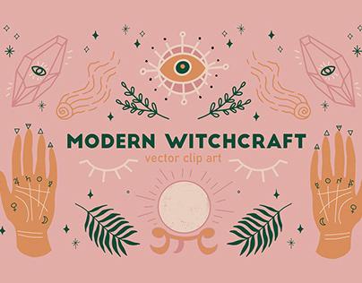 Modern Witchcraft Vector Clip Art Set