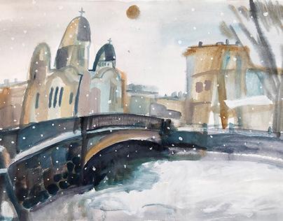 St Petersburg in watercolor