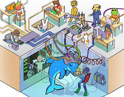 Dolphin water tank