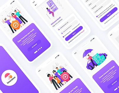 Insurance Mobile App UI Template