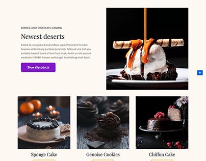 Cake, Food, bakery or event WordPress website