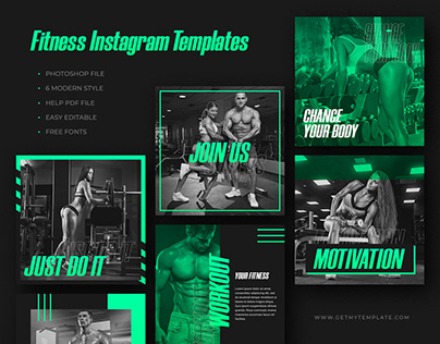 6 FREE FITNESS GYM INSTAGRAM POST TEMPLATES