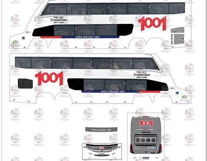 Artes adesivos miniatura de ônibus DD - Escala: 1:43.