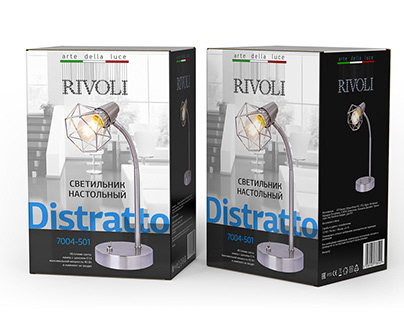 Packaging design for RIVOLI chandeliers and table lamps