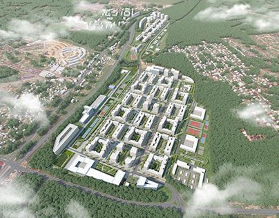 3D Визуализация концепции жилого района Ватутинки.