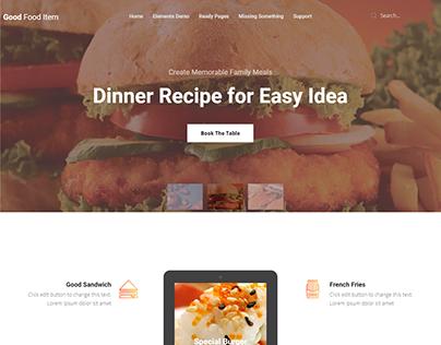 Good Food Item Restaurant Landing Page