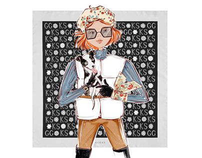 Flat cartoon fashion illustration , portrait