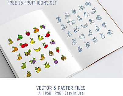 Free 25 Fruit Icons Set