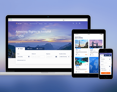 Webdesign concept for airline agency