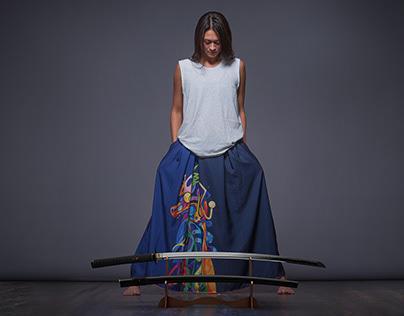 "Long Blue Skirt ""Samurai Girl"" with abstract pattern"
