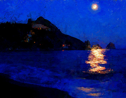 Moonlit night in Crimea