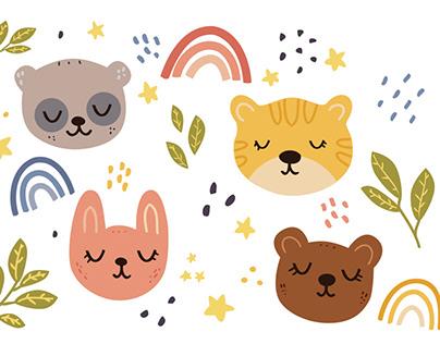 Cute animal vector set