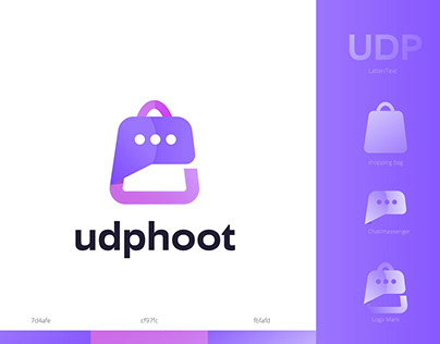 UDP and chat shopping logo design concept