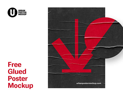 FREE Glued Poster Paper Mockup