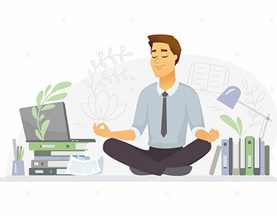 Mindfulness character illustration Free Download